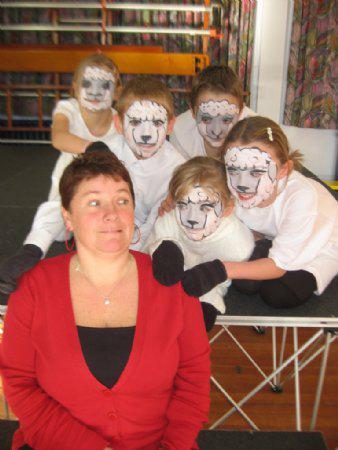 Our sheep creep up on Mrs. Beasley