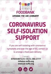 Foodbank delivery for over 65 self isolating