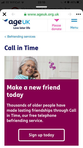 Telephone befriending service - don't be lonely!