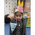 Amina has made an Easter basket.