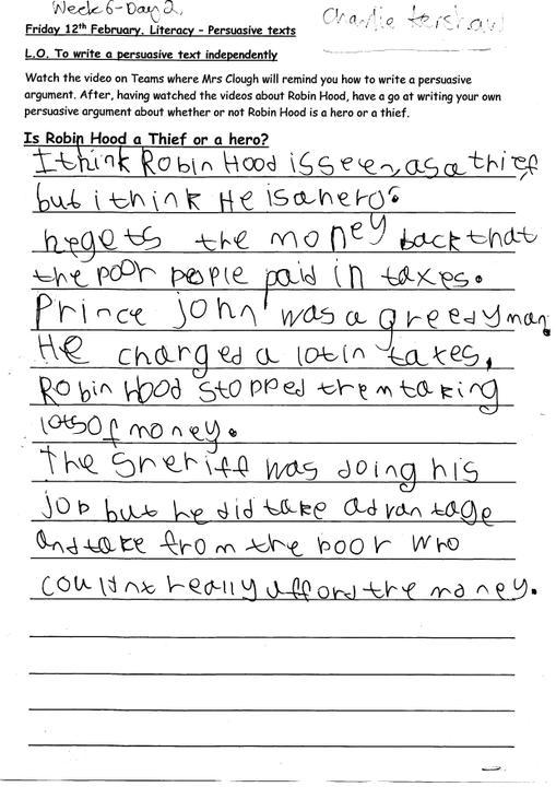 Charlie's writing
