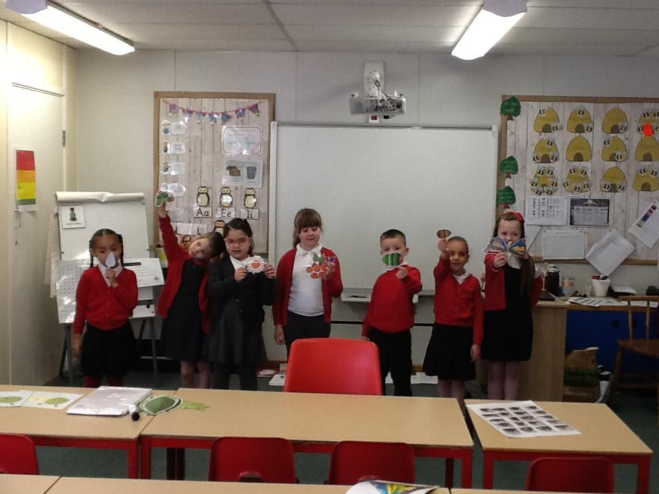 We used props from the story to re-tell it and get in the correct order.