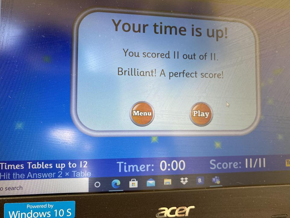Ryan's perfect score on Hit the Button!