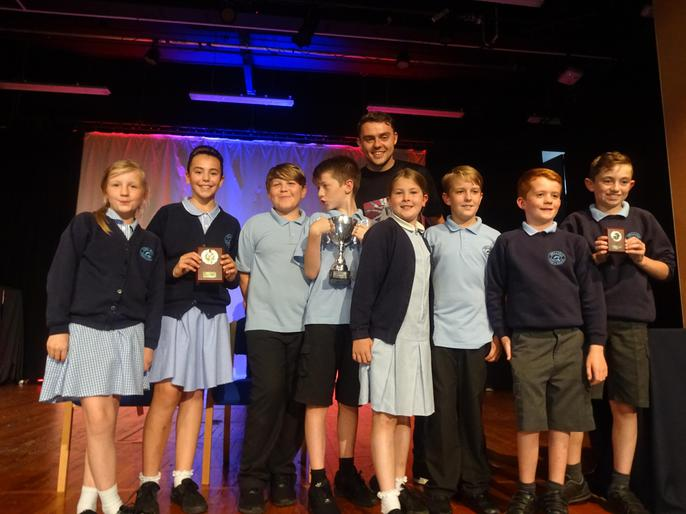 Our Y6 sporting stars with Connor Randall