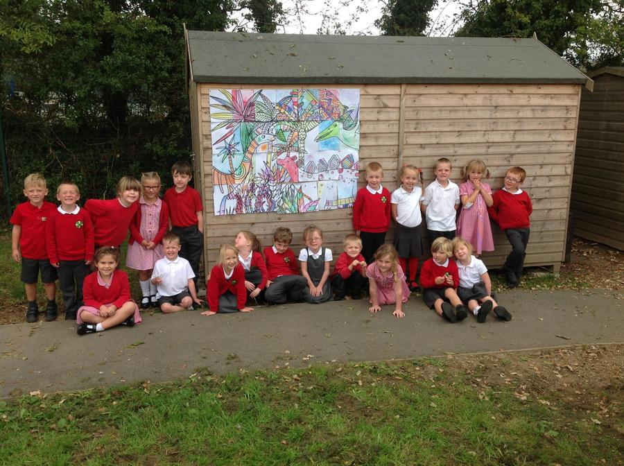 Class 1 with our displayed work