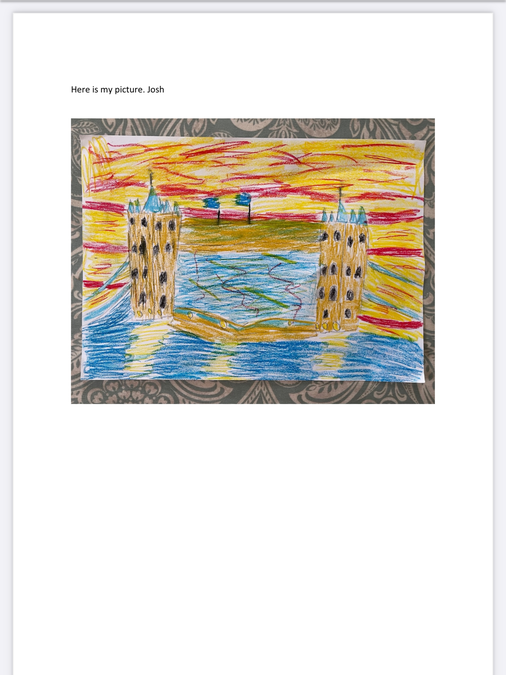 In Art we drew a picture of a London landmark. A great effort by the children.