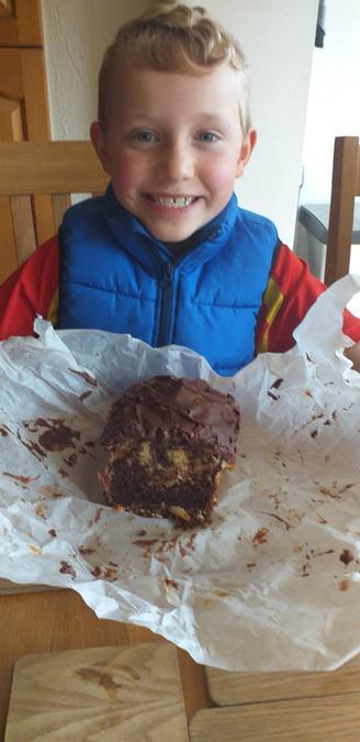 Arthur's orange and chocolate marble cake