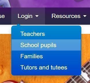 In the login drop down menu, select 'School pupils'