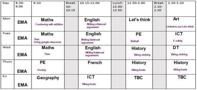 Timetable WB: 19/10/20