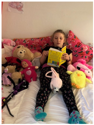 Reading to the soft toys