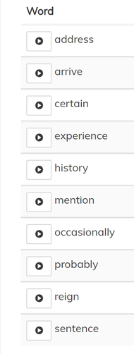 Main Group Challenge Words - Optional
