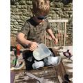 Ben exploring frozen dinosaur eggs