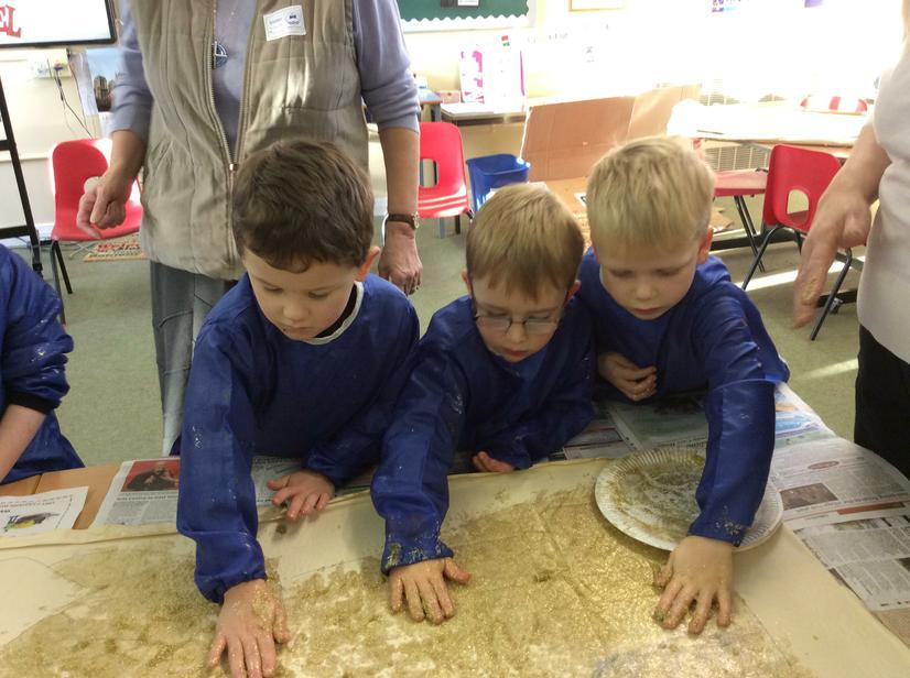 Blue Class getting messy and having fun.