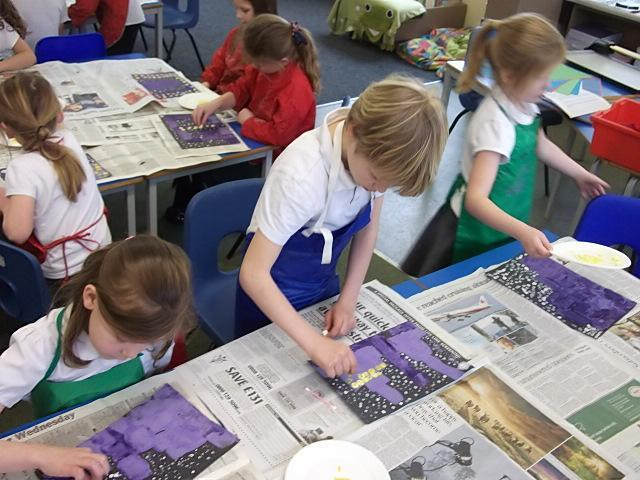 We used printing and paints to make brilliant cityscapes!