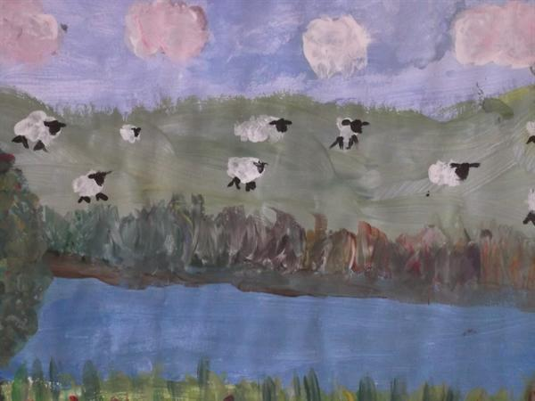 Sheep across the river