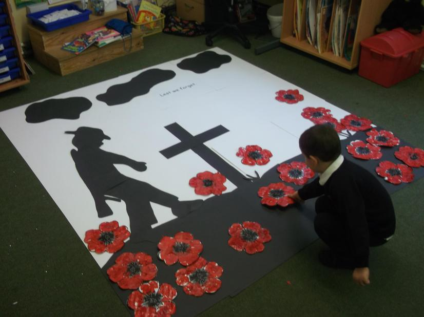 British values: Yellow Class lay their poppies