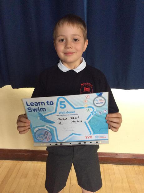 Superb swimming achievement for Joseph - well done