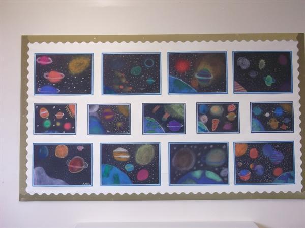 Planet art in chalks
