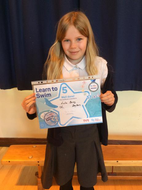 Well done Lola for her swimming achievement.