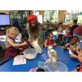 Miss Hanby helped us make batter to make crepes