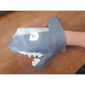 Ollie's shark puppet.