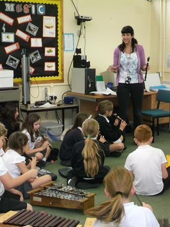 Mrs Smith during a fun music lesson