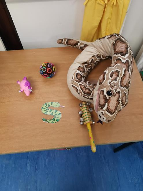 Some items from our S bucket, we all loved playing SHHHH don't wake the snake for stage 3.