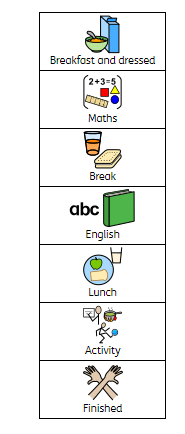 This is a suggested daily timetable which roughly follows a typical day in Robin Class.