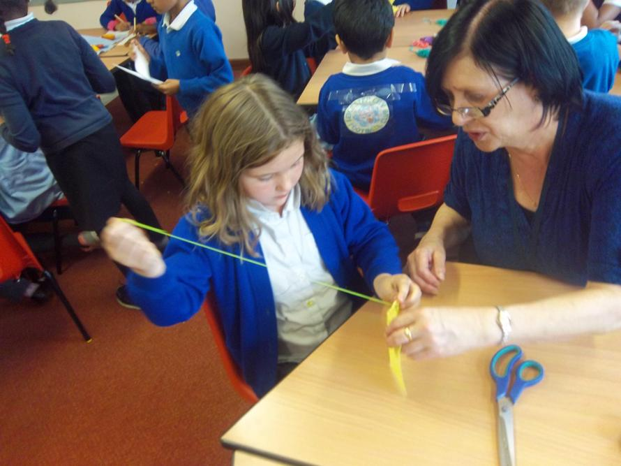 Year 2 are working on their sewing skills.