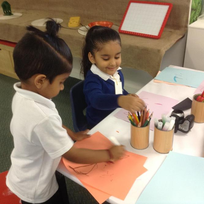Choosing our favourite colours to draw with.