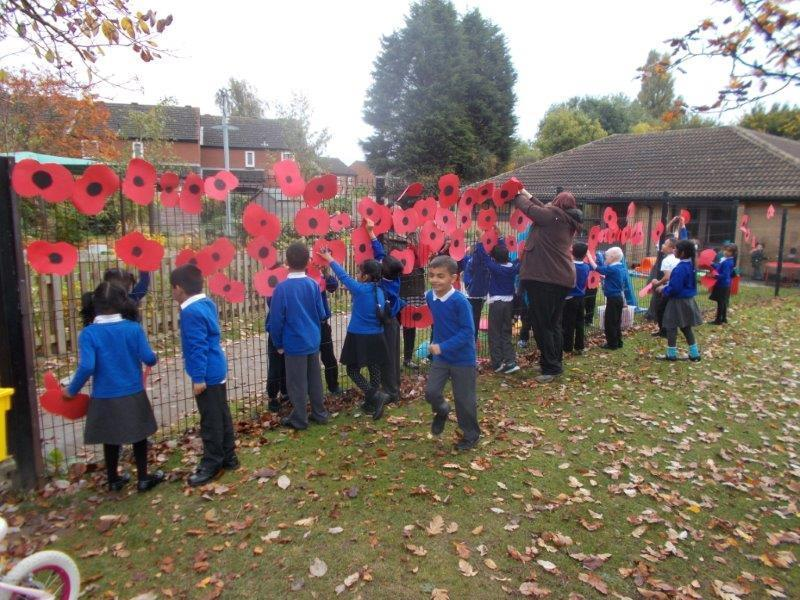 We put up our poppies in remembrance.