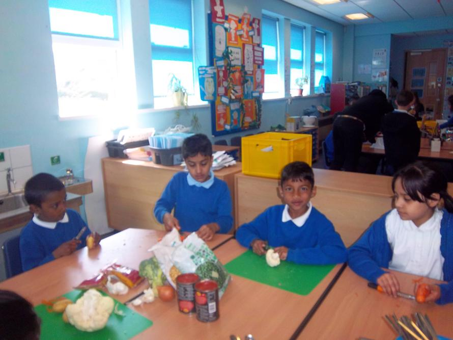 Year 2 are busy cooking.