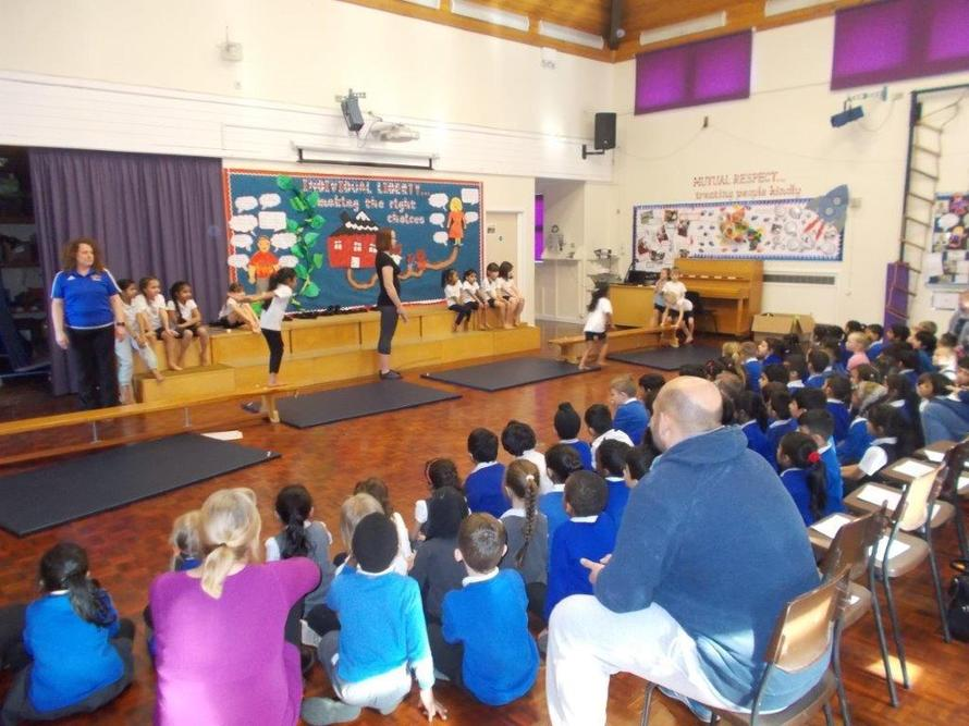 All our gymnasts showed their skills to our parents.