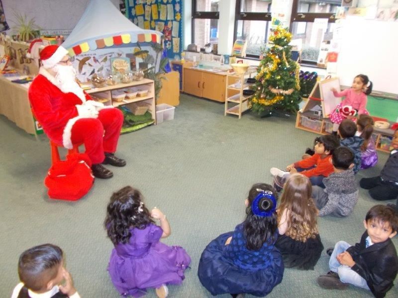 Our Moonbeam class were pleased to see Santa.