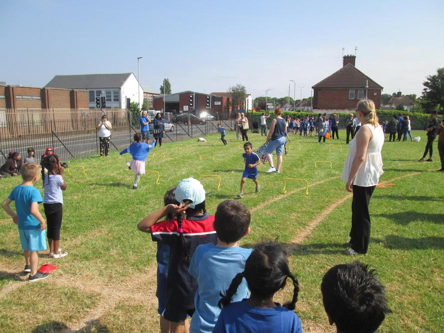 Everyone joined in on our sports day.