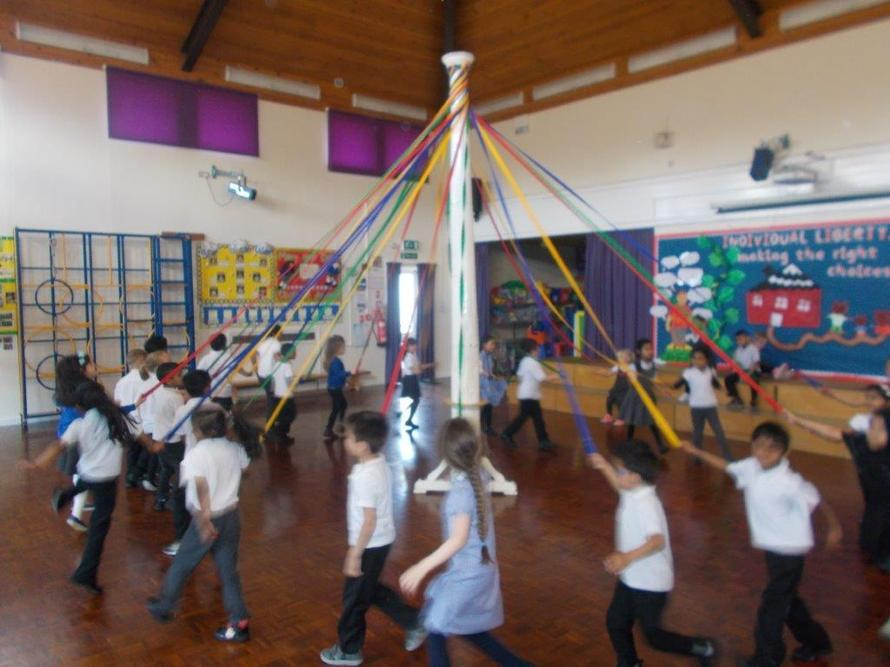 We had fun dancing around our maypole.