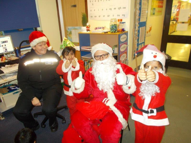 Santa had lots of help when he visited.