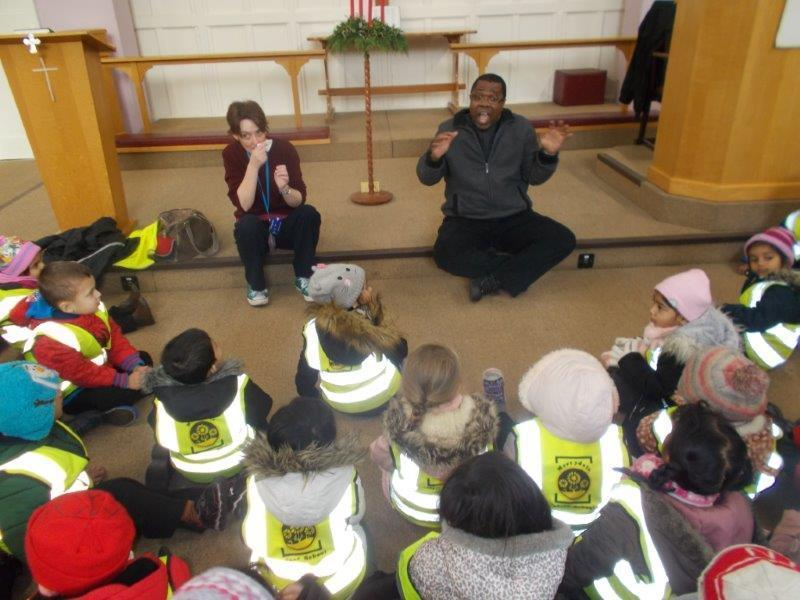 Our Foundation children listened to the vicar at the church.