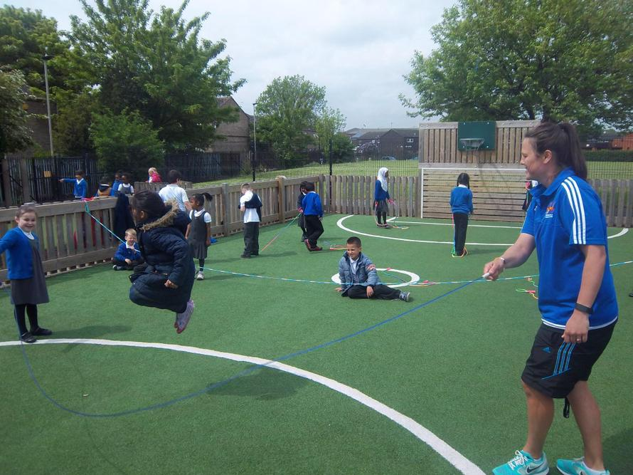 Our Year 2 children worked on their PE skills during lunchtime.