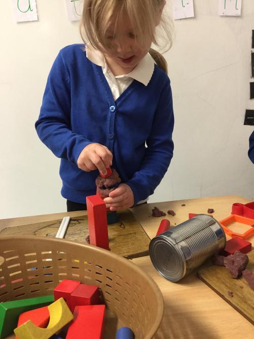 My model/building using playdough cement!