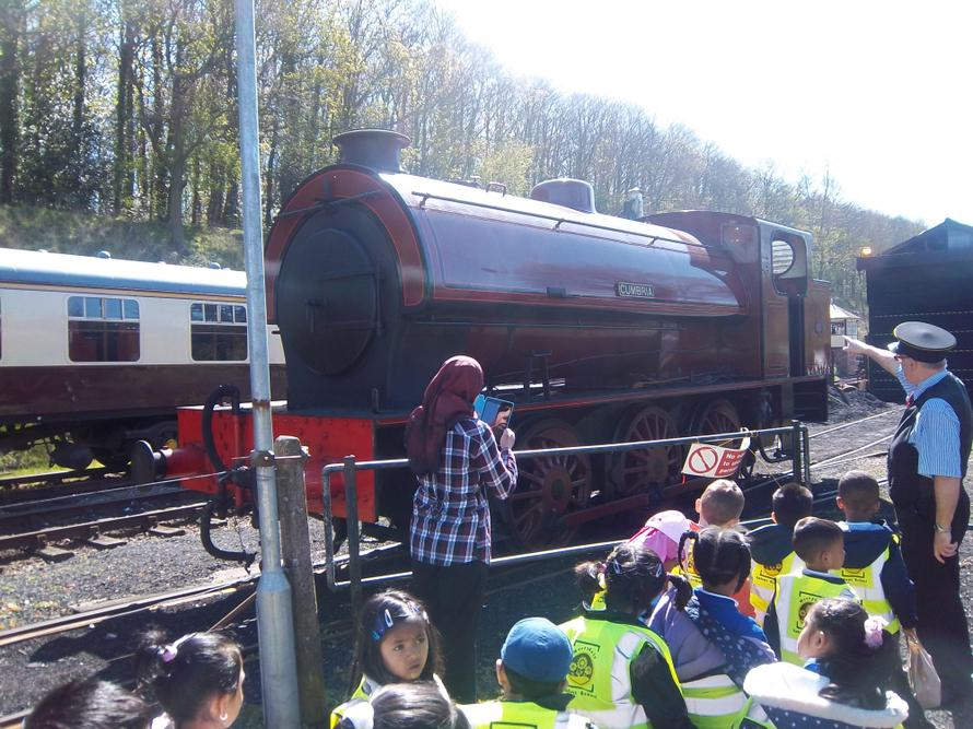 Our children came close to a genuine steam train.