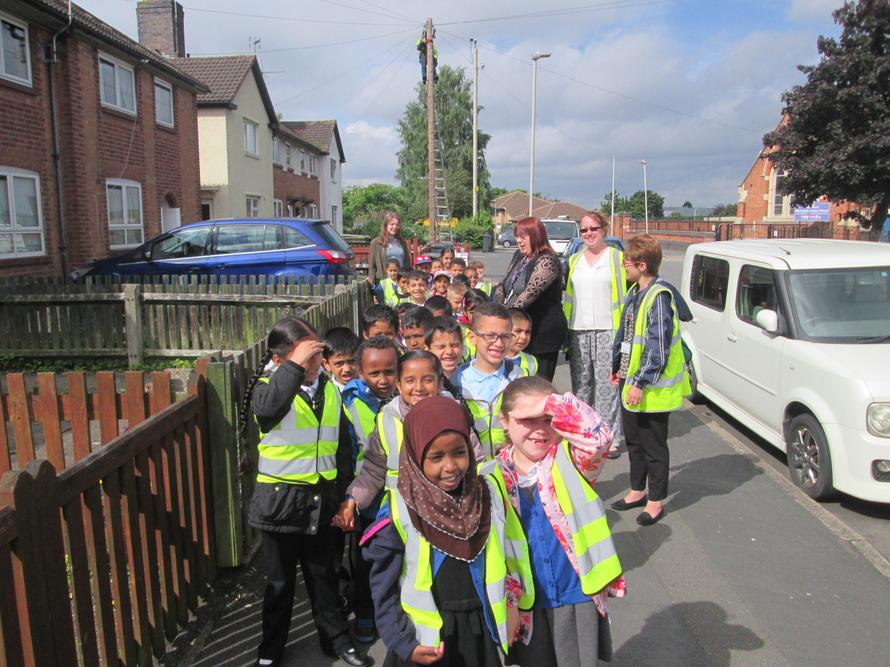 Year 1 go for a walk around our local area looking at buildings.