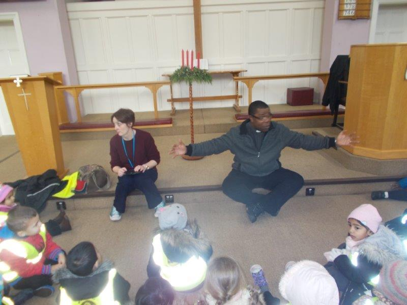 The children learned all about the wonderful things that happen at church.
