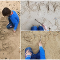 Ethan's phonics work on the beach!