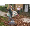 Year 6 helping to make leaf mulch