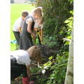 Practising with the garden tools