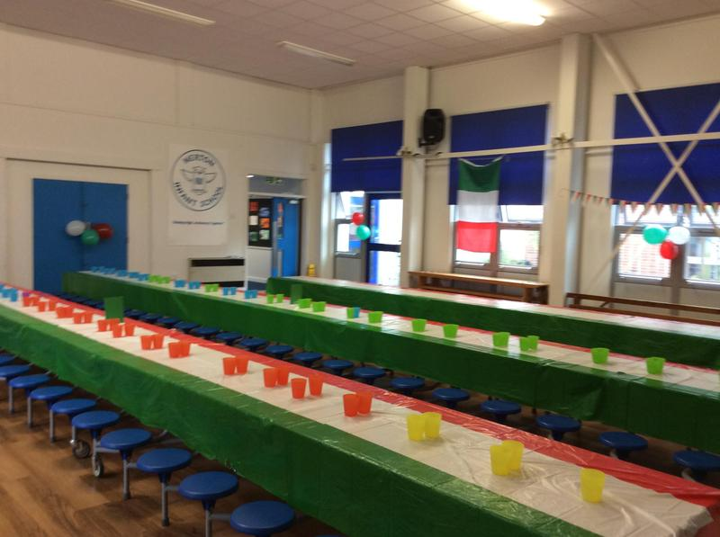 The hall all set for the Italian inspired lunch
