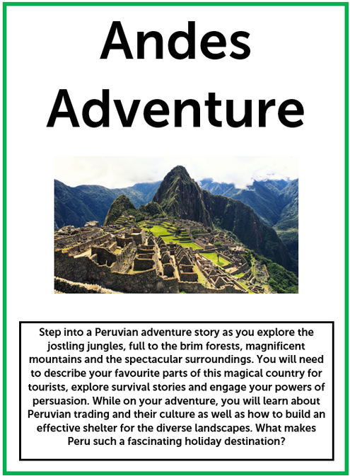 Since finishing our transition unit, Year 6 have started on Andes Adventure.