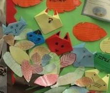 Origami cats and leaf rubbings