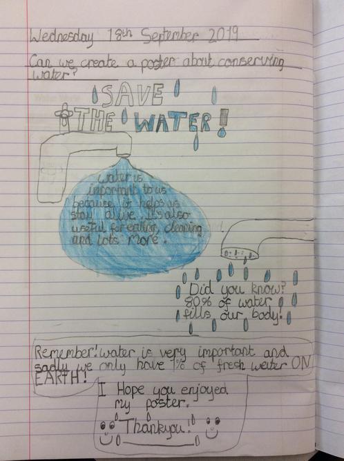 Freya's 'saving water' poster